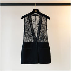 Modern French Lace Black Small Vest Women 2018 New Foreign Style Fashion Short Short Jacket