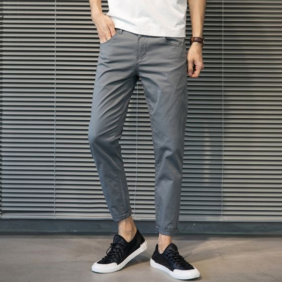 Summer thin section nine pants men's Korean version of the slim straight casual pants men's 9 points pants feet men's pants stretch summer pants