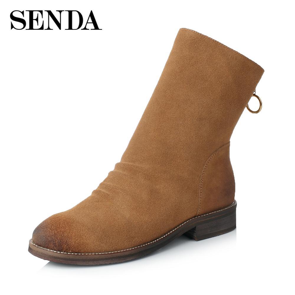 Senda/森达冬季新款专柜同款时髦女中筒靴3GT05DZ7