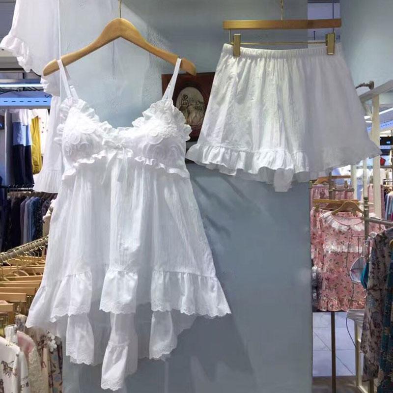 吊带睡衣女夏纯棉性感甜美可爱公主韩国家居服带胸垫两件套白睡裙