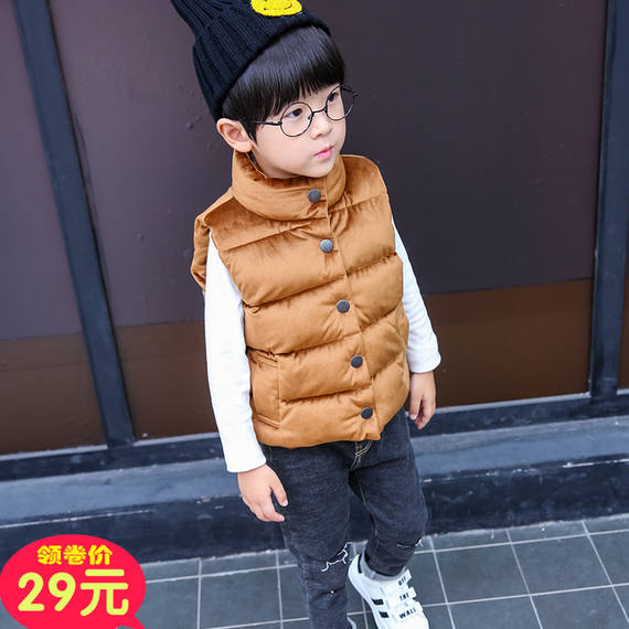 Autumn and winter new children's down cotton gold velvet vest vest boys and girls thick collar collar coat big boy vest