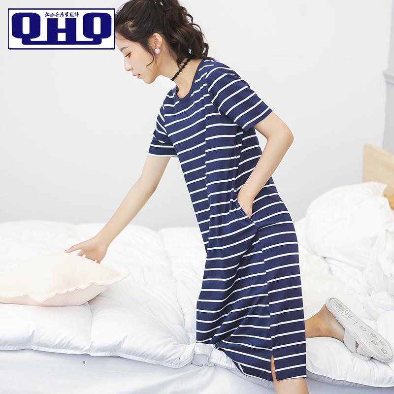 韩版可爱全棉夏天女睡裙夏季纯棉清新甜美可外穿睡衣学生宽松大码