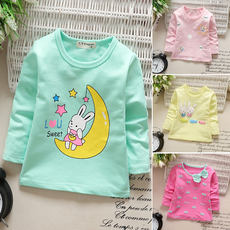 2018 new girls autumn T-shirt long-sleeved 1-2-3 years old children Korean version of the shirt baby bottoming shirt spring and autumn tide