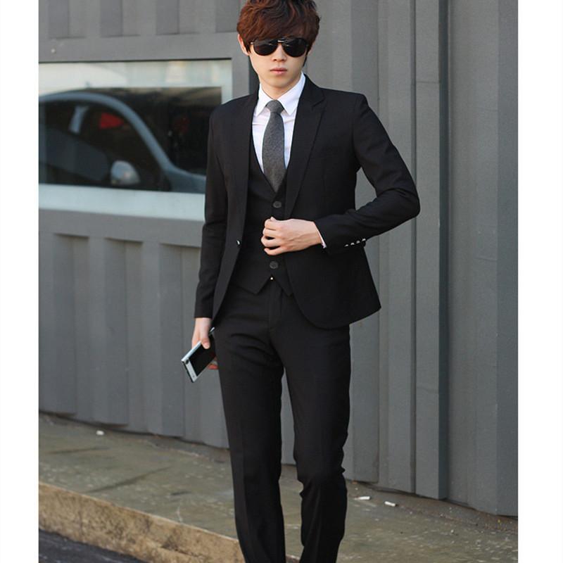 秋季西服套装男青年韩版修身商务休闲正装大学生毕业工作西装礼服