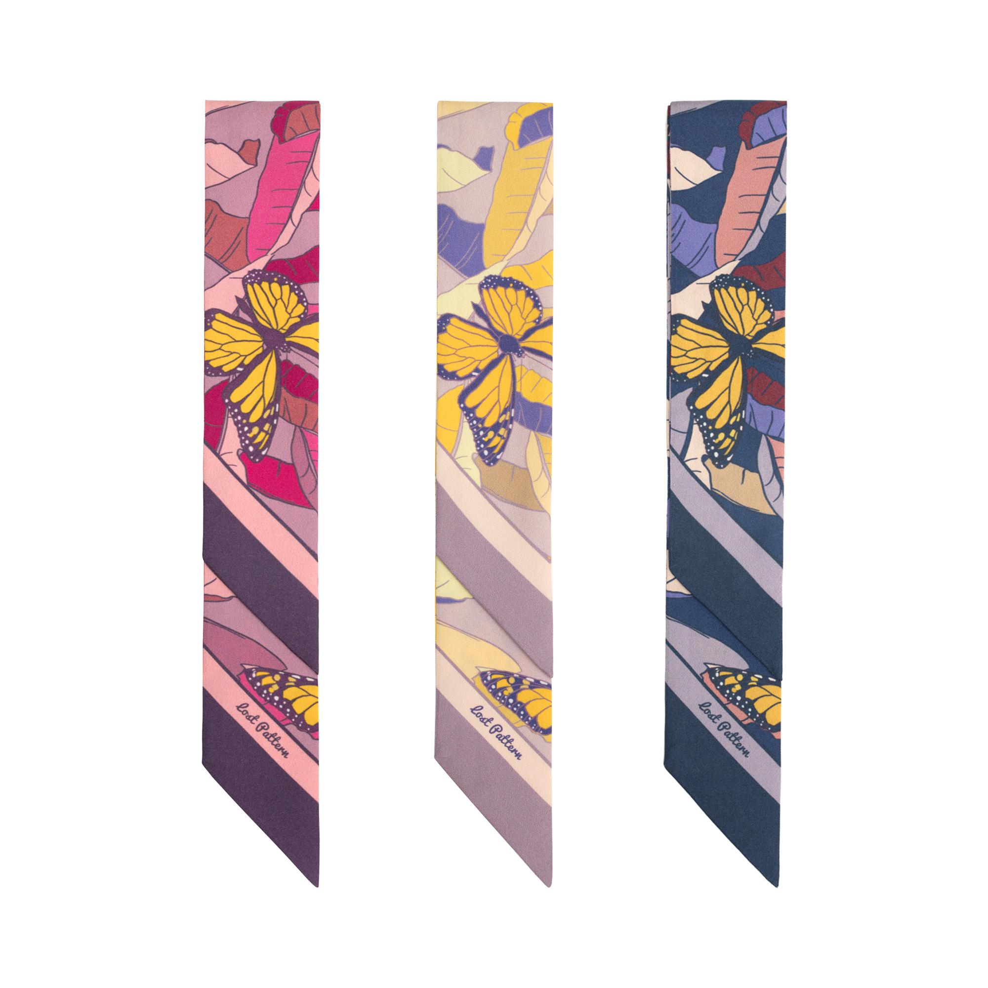 双成记加西亚系列黄蝴蝶香蕉树印花真丝斜纹窄丝巾绑包领带twilly