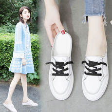 Kali Xi lazy half drag women 2019 summer new fashion casual tie Velcro Baotou small white shoes