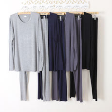 Spring and autumn men's autumn clothes fall pants suit round neck bamboo fiber underwear Modal thin cotton pajamas large size