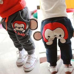 宝宝加绒裤子女0-1-3岁加厚婴幼儿童2男婴儿哈伦裤大PP裤冬季棉裤