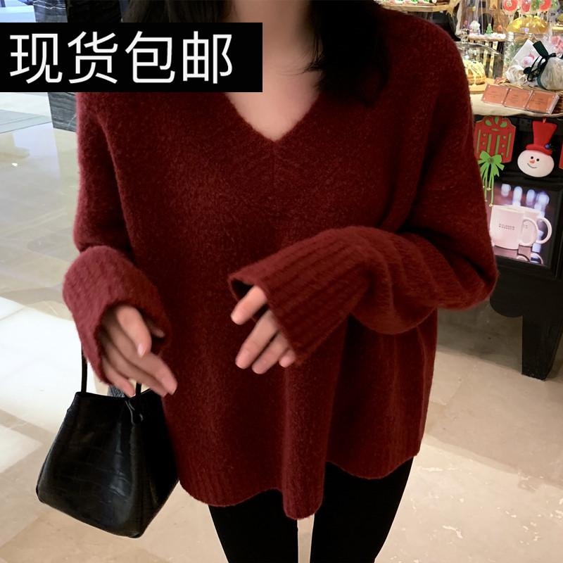 現貨 YesasYou / 顯白白!濃濃漿果紅~豌豆公主的v領牛絨毛衣