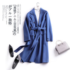 Duo Nao Korean version of winter smoky indigo double-sided 昵 cashmere coat female long section 2017 new lace coat