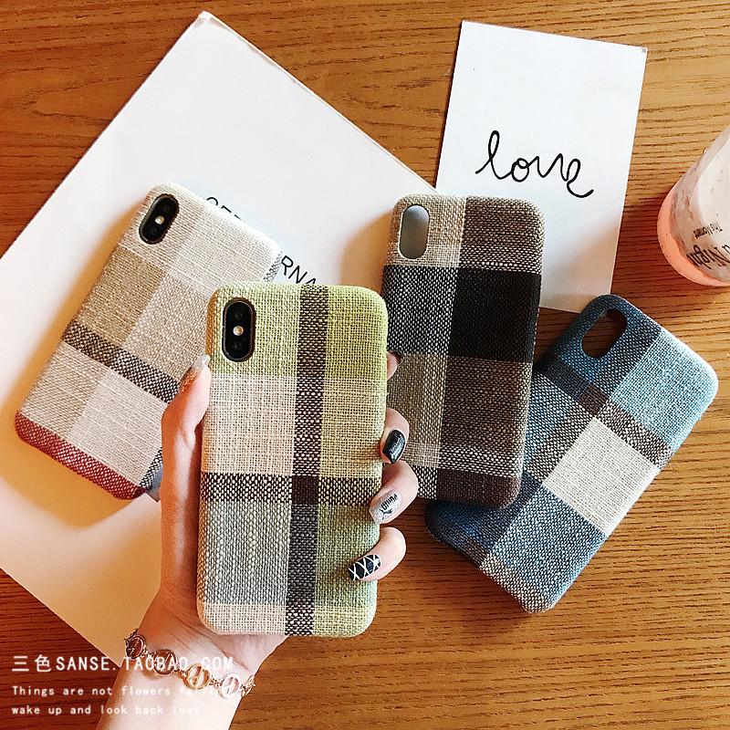 秋冬新款毛呢格子纹iphoneX手机壳苹果8plus全包6s?;ぬ?P女款潮