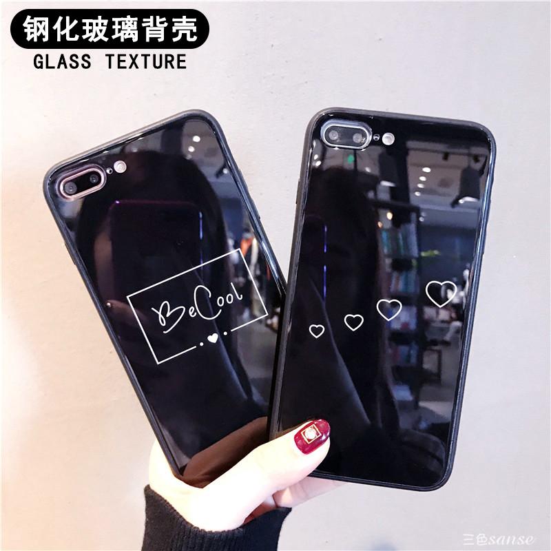 黑色英文苹果X玻璃手机壳iphone7plus?;ぬ?/8/6splus防摔情侣款