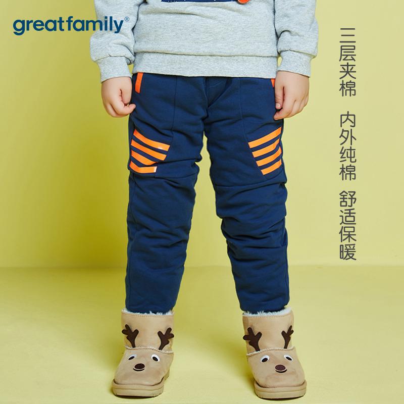 歌瑞家男童针织夹棉裤长裤藏青色2018冬儿童裤子休闲裤