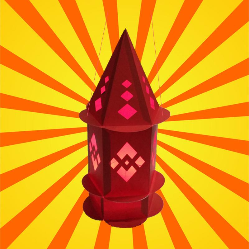 元宵纸灯笼diy儿童灯笼幼儿园手工制作材料包儿童节灯笼七彩春节