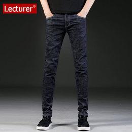 Lecturer高弹力深色牛仔裤男夏季薄款休闲青年修身小脚裤男韩版潮