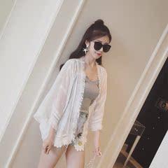 蕾丝刺绣雪纺外套女夏季韩版短款宽松小披肩防晒衣七分袖薄款上衣