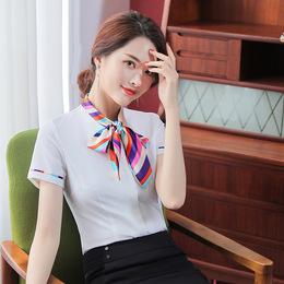 酒店工作服夏装女职业衬衫客服前台收银服务员工作服短袖空姐制服