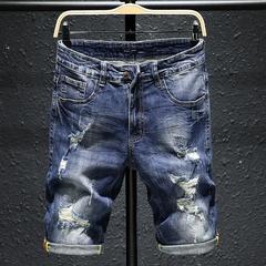 夏季薄款破洞牛仔短裤男五分裤夏天纯棉5分裤中裤马裤男韩版潮流