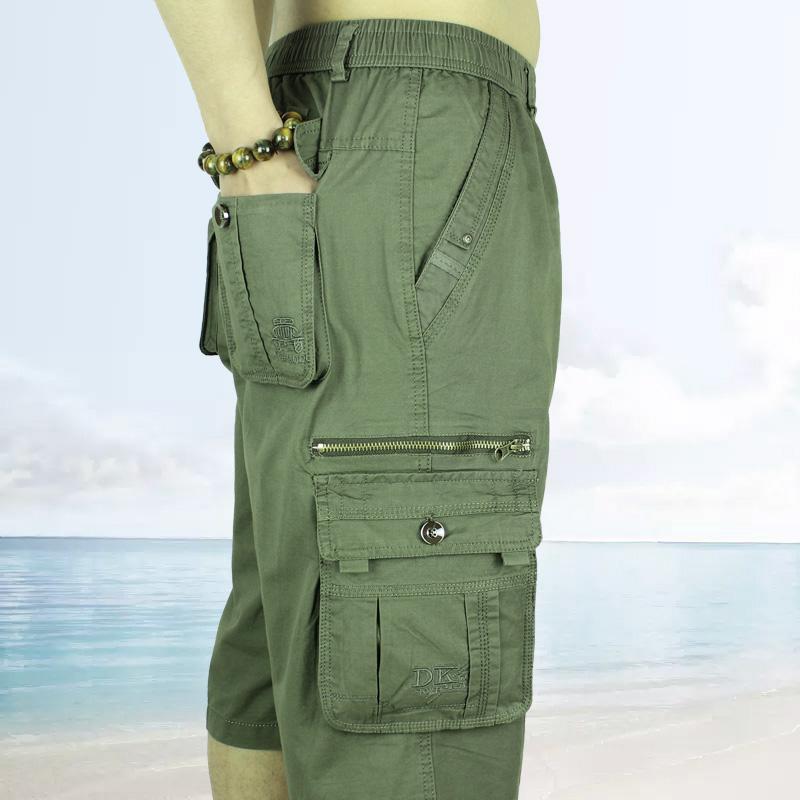 夏天中年七分裤男 宽松休闲大码薄款工装短裤男士多口袋纯棉7分裤