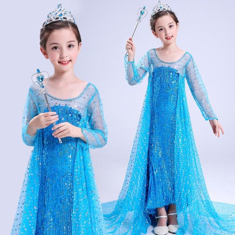 女童艾莎连衣裙裙子演出礼拖尾亚粉色儿童装万圣节小童儿童节商店