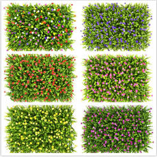 Simulation lawn plastic artificial turf simulation plant wall flower wall plastic flower lawn simulation with flowers and plants fake turf