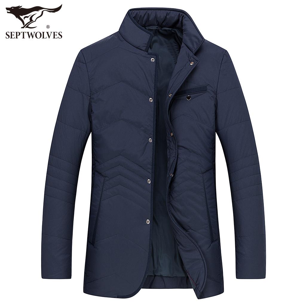 【折】七匹狼棉服男士立领商务休闲棉衣冬季新款中长款外套男
