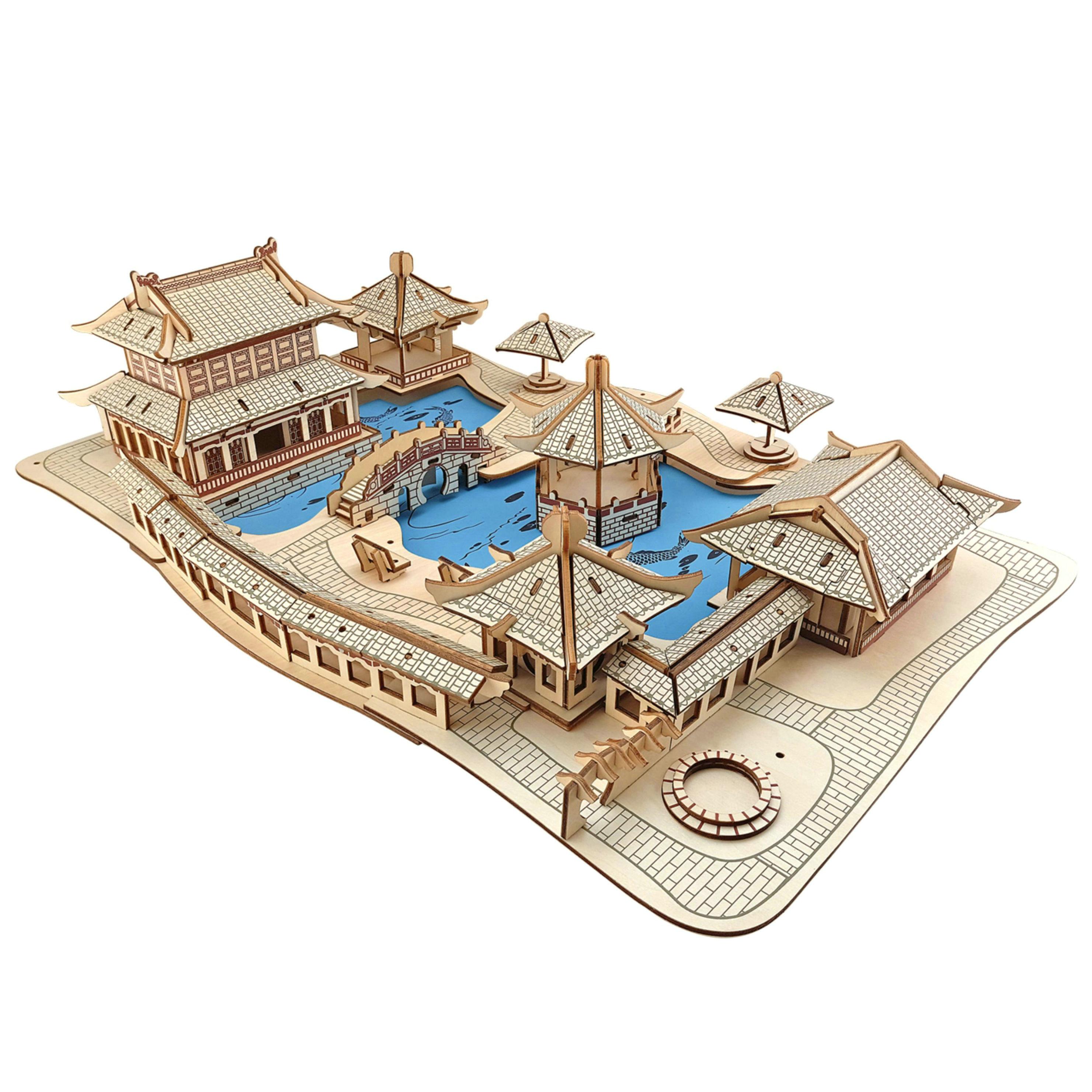 手工版木质成人拼插房子木制激光建筑模型拼图拼装别墅积木头儿童厅三室立体两图片