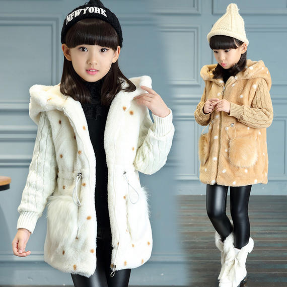 Girls winter new woolen coat plus cotton thickening New Korean version of the big virgin baby baby children's clothing long sleeves