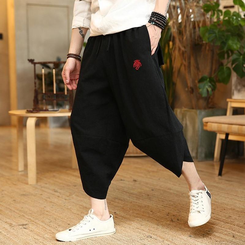 夏季男裤宽松民族中国风阔腿裤吊裆嘻哈男加肥加大码七分休闲裤子