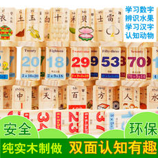 Domino children's puzzle knowledge Chinese characters intelligence building blocks wooden toys 1-2-3-6 years old baby literacy