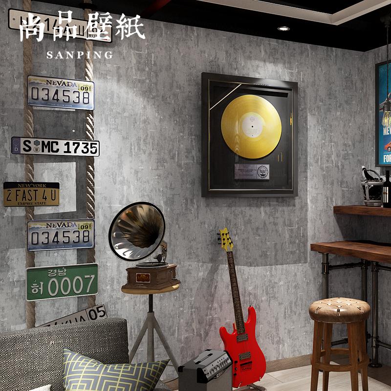 灰色水泥墙纸 美式复古loft工业风格怀旧纯色壁纸 服装店素色墙纸