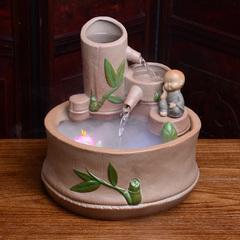 家居流水摆件办公室客厅室内假山水流中式加湿器小型鱼缸涌泉雾化
