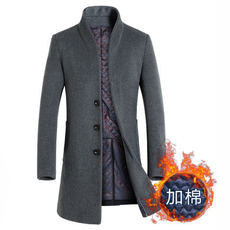 2018 autumn and winter new long woolen coat men's youth windbreaker Slim type XL collar men's windbreaker