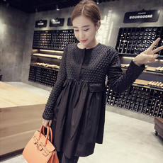 Large size maternity dress spring and autumn shirt shirt fat mm was thin bottoming shirt in the long paragraph pregnant women dress 200 kg