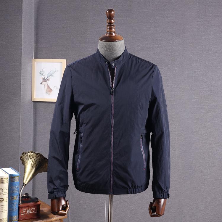 捌零折扣剪标立领夹克商务休闲青年百搭素色纯色藏青色夹克衫外套