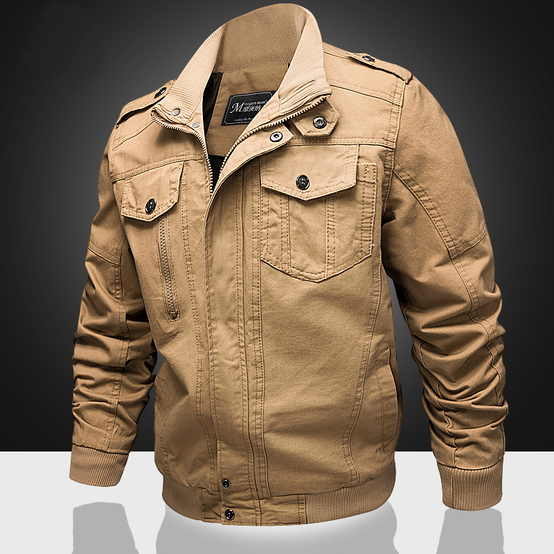 秋季新款美国特种兵飞行员休闲工装夹克青年大码军装外套纯棉耐磨