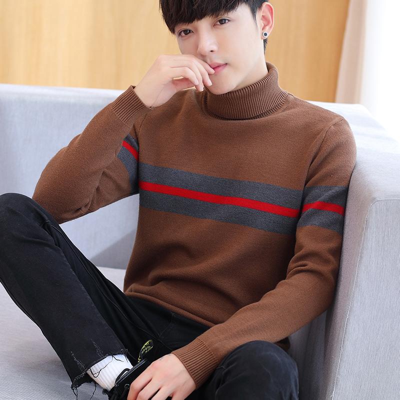 男冬装2017新款高领毛衣韩版修身男士套头针织衫冬季加厚打底衫男