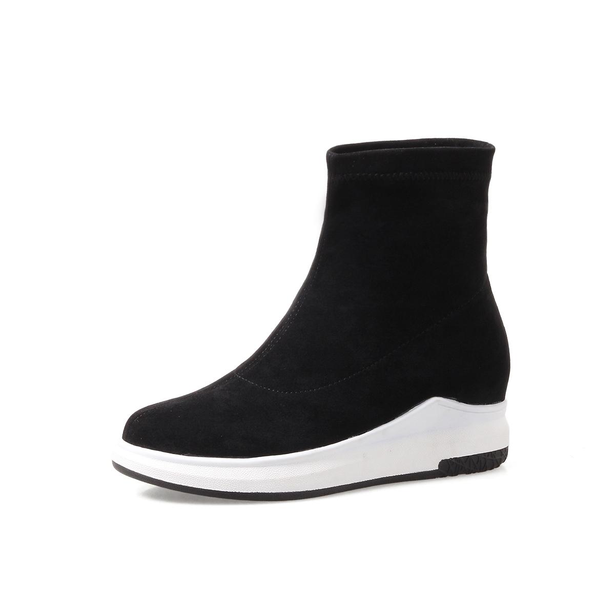 靴子女秋欧洲站短靴女松糕厚底高帮鞋裸靴女平底弹力袜子靴内增高