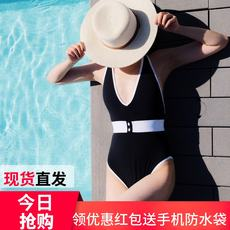 Korean retro conservative one-piece swimsuit female sense black and white ins wind cover belly slim bikini net red high-end