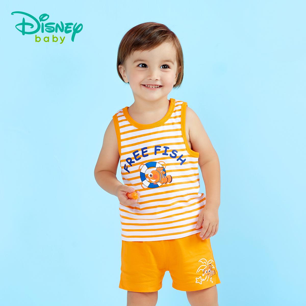 迪士尼童装男童背心儿童童装无袖男童短袖套装夏两件套2018新款可领取领券网提供的50元优惠券