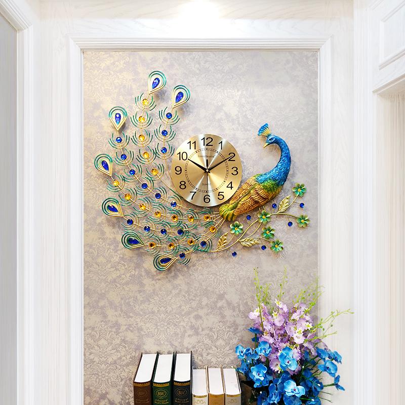恋妆装饰钟表挂钟客厅现代简约创意时钟大孔雀挂表欧式静音石英钟