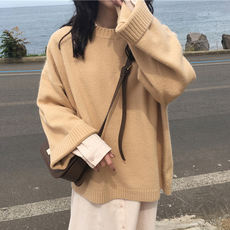 Autumn and winter Korean version of the loose wild ulzzang long-sleeved retro Hong Kong-flavored chic student pullover sweater coat female tide