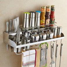304 stainless steel punch-free kitchen rack wall-mounted kitchen utensils knife holder seasoning shelf space