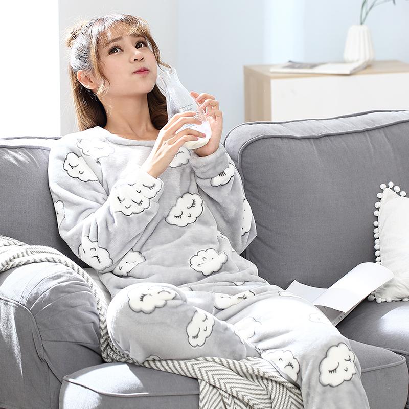 珊瑚绒睡衣女士秋冬季甜美可爱长袖韩版冬天法兰绒加厚套装家居服