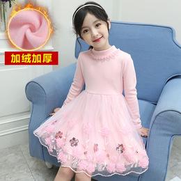女童秋冬童装新款连衣裙冬季加绒加厚小女孩洋气公主裙儿童冬裙子