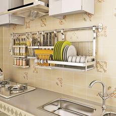 Stainless steel kitchen rack free punching rod holder wall-mounted drain dish rack seasoning shelf storage rack