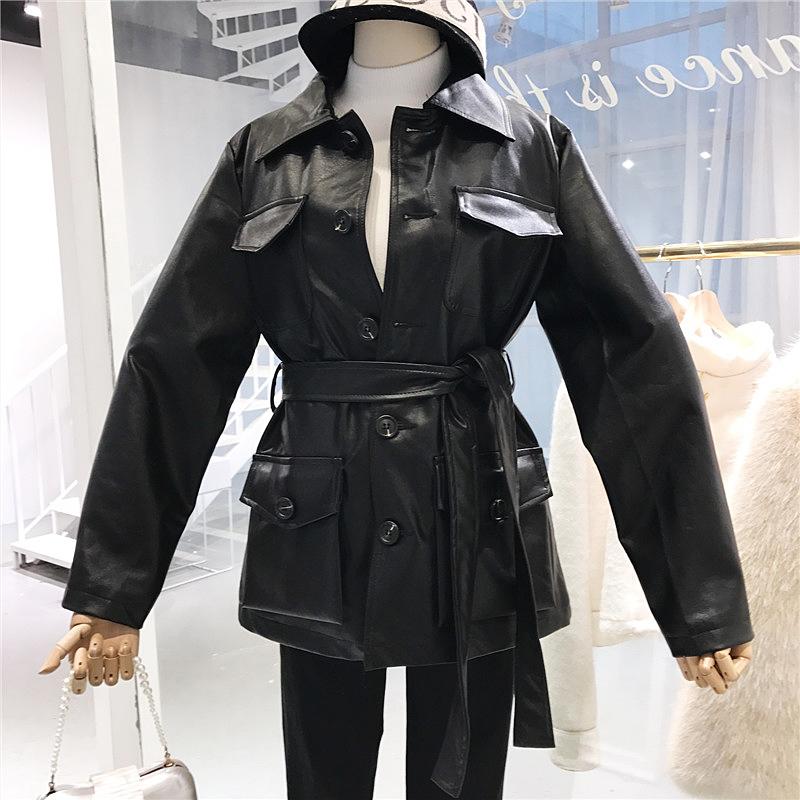 韩版修身绑带皮衣女2018春季新款单排扣长袖纯色时尚百搭口袋外套