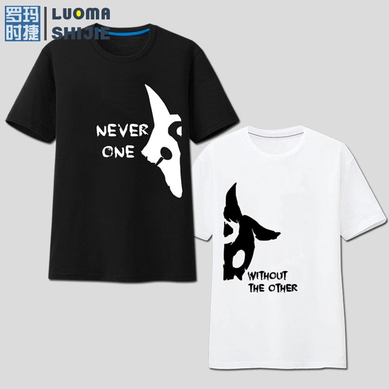 罗玛时捷男士夏季打底衫短袖大码 英雄联盟千珏个性趣味印花T恤男