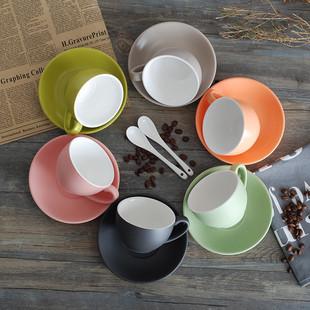 淘礼轩陶瓷色釉欧式咖啡杯碟套装拿铁杯意式拉花咖啡杯卡布奇诺杯