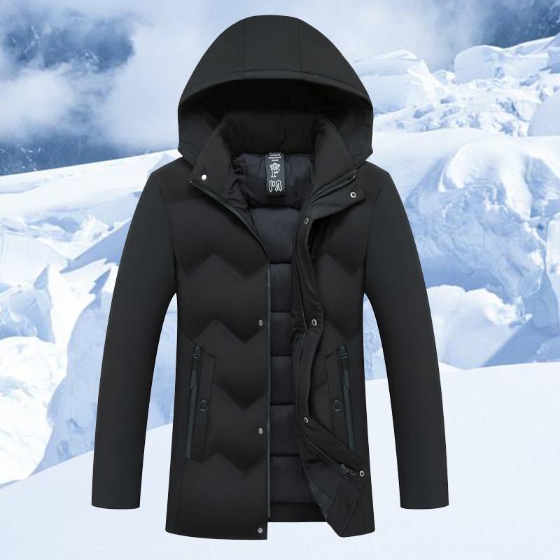冬季男士棉衣外套加厚可脱卸帽子保暖棉袄中年羽绒棉服宽松爸爸装